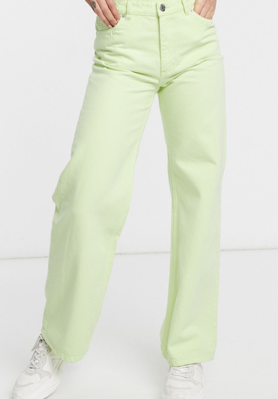 Monki's lime green organic cotton high waist jeans