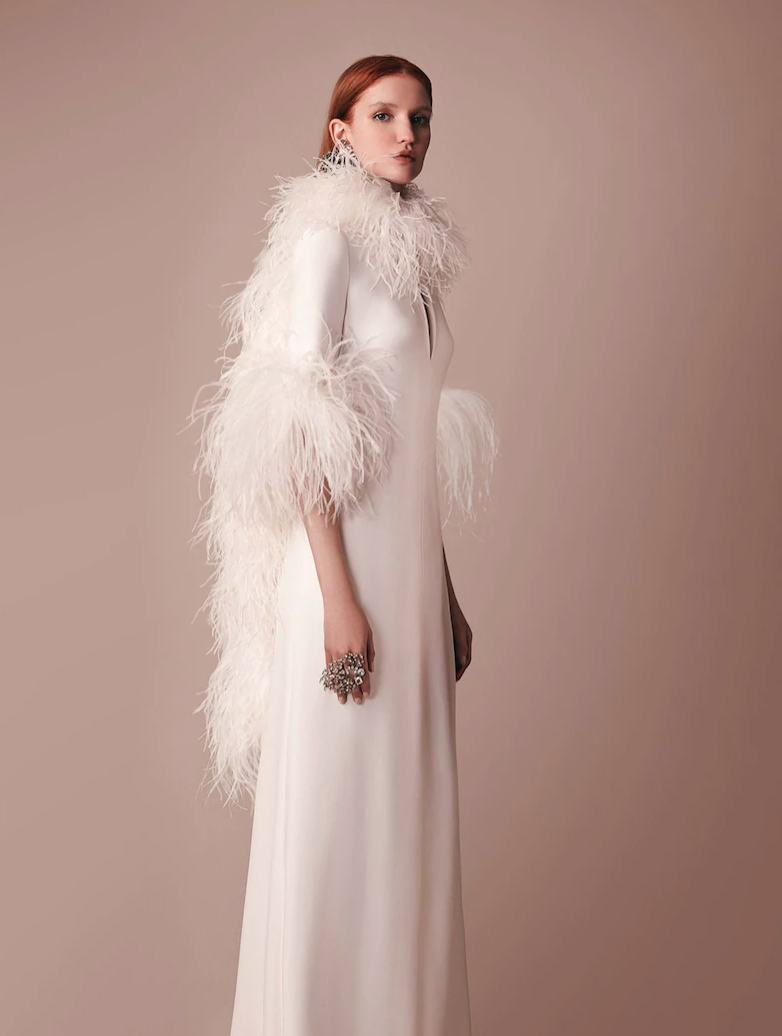 LONG CADY DRESS WITH FEATHERS