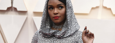 Janelle Monáe has the most galactic look of the night: silver from the skirt to the hood