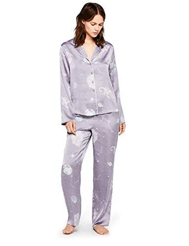 IRIS & LILLY Satin Pajamas, Blue Horoscope Print), Large