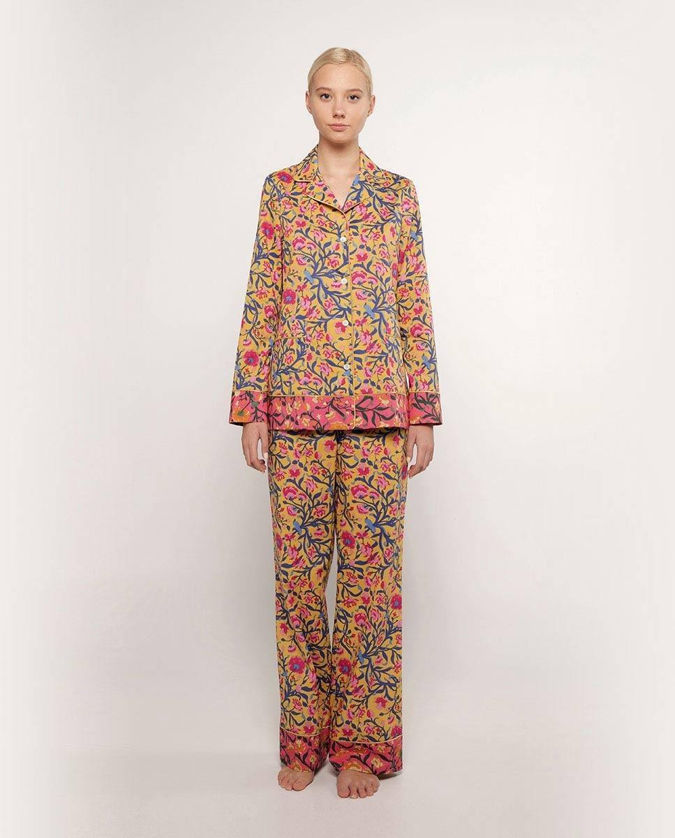 100% cotton long-sleeved printed women's pajamas