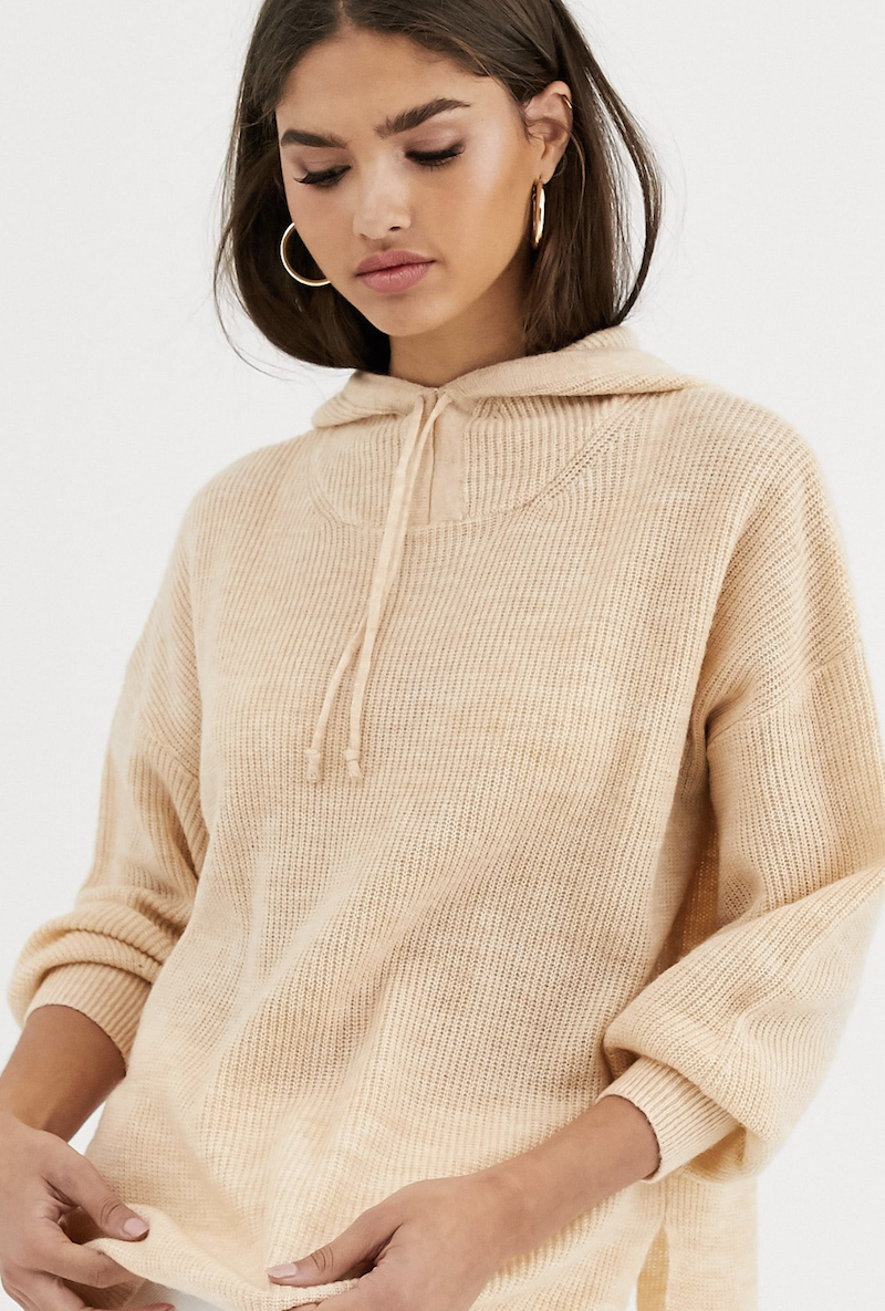 Knitted hoodie with knotted detail in Micha Lounge's Luxe wool blend