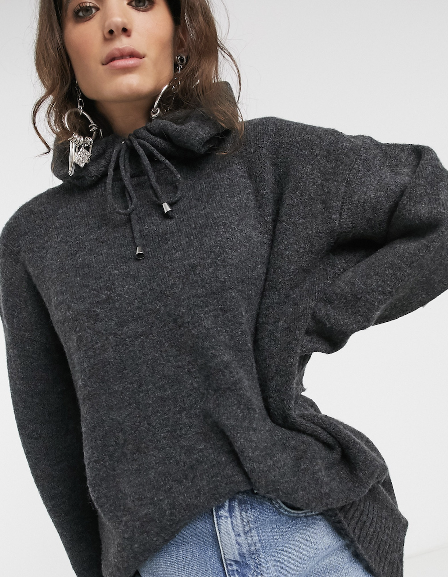Grey knit hoodie from Topshop