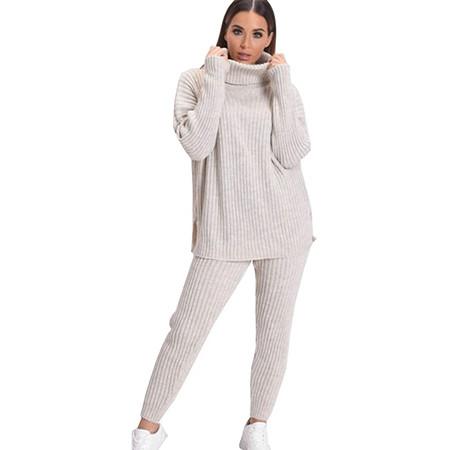 A&H Fashion Women's Knitwear Polo Shirt Set with LeggingsA&H Fashion Women's Knitwear Polo Shirt Set with Leggings