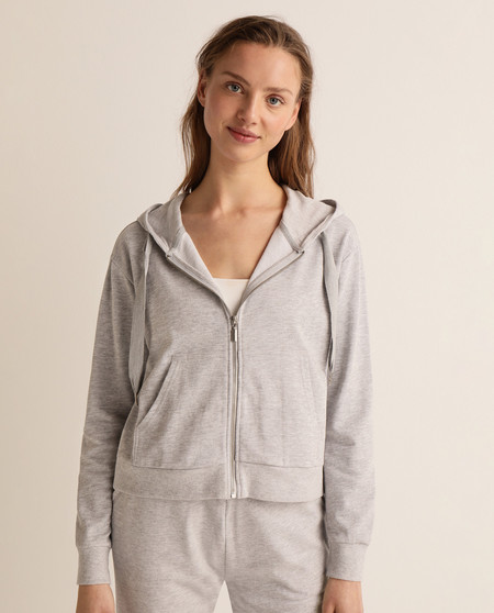 Women's zippered sweatshirt with hood and pockets