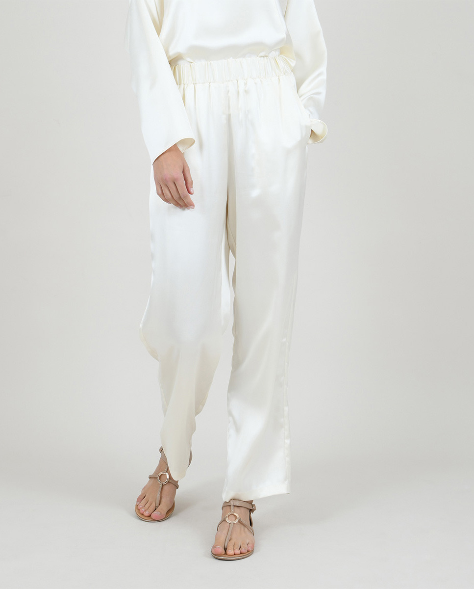 Women's long palazzo pants in satin fabric