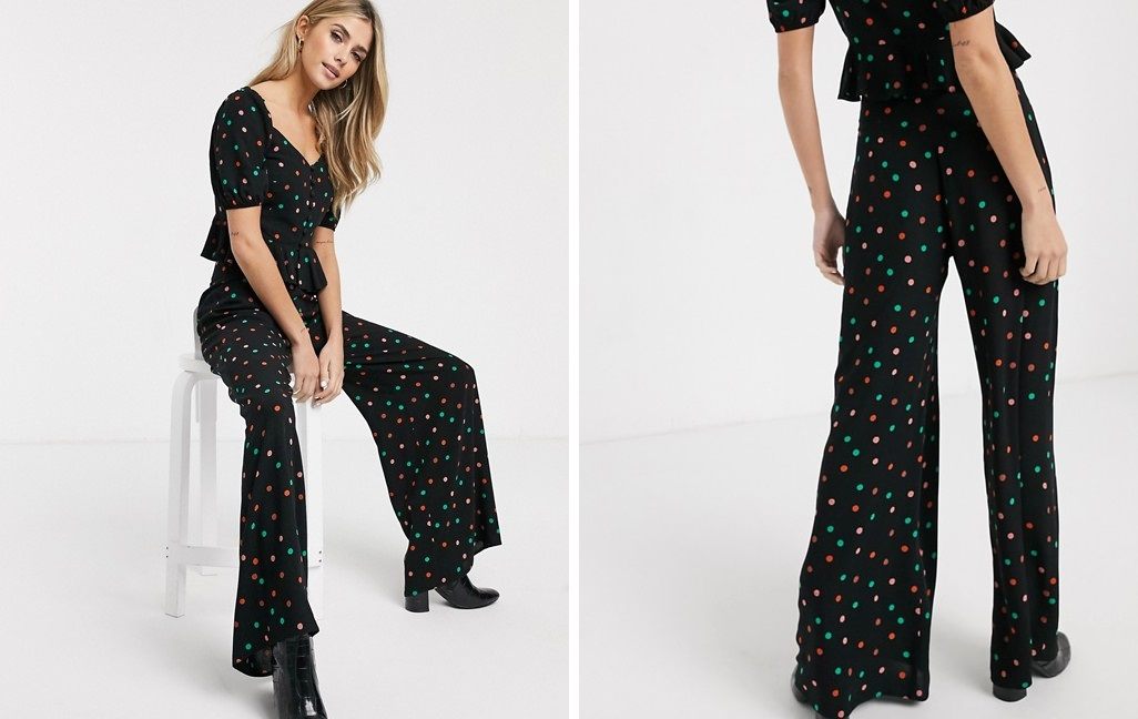 Multicolored polka-dotted palazzo pants