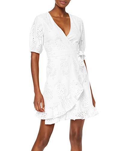 Amazon brand - find. Women's Short Cotton Crossover Dress, White (Bright White), 38, Label: S