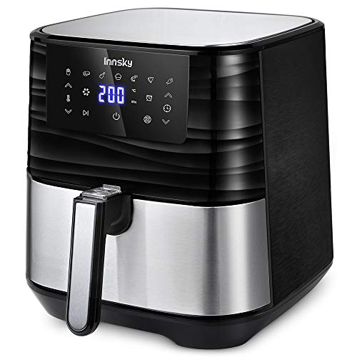 Innsky 5,5L 1700W oil free fryer with 7 programs + Delayed Start function, LED panel, Temperature and time adjustable. Hot air fryer with BPA and PFOA free recipe book, ideal gift