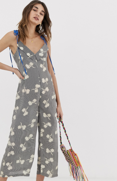 Long Fine Contrast Strap Overall With Abstract Lost Ink Floral Design