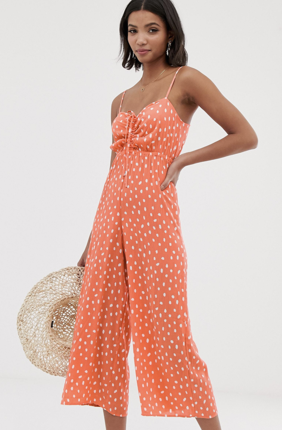 Long strap suit with bra detail with pleats and polka-dot pattern by ASOS DESIGN