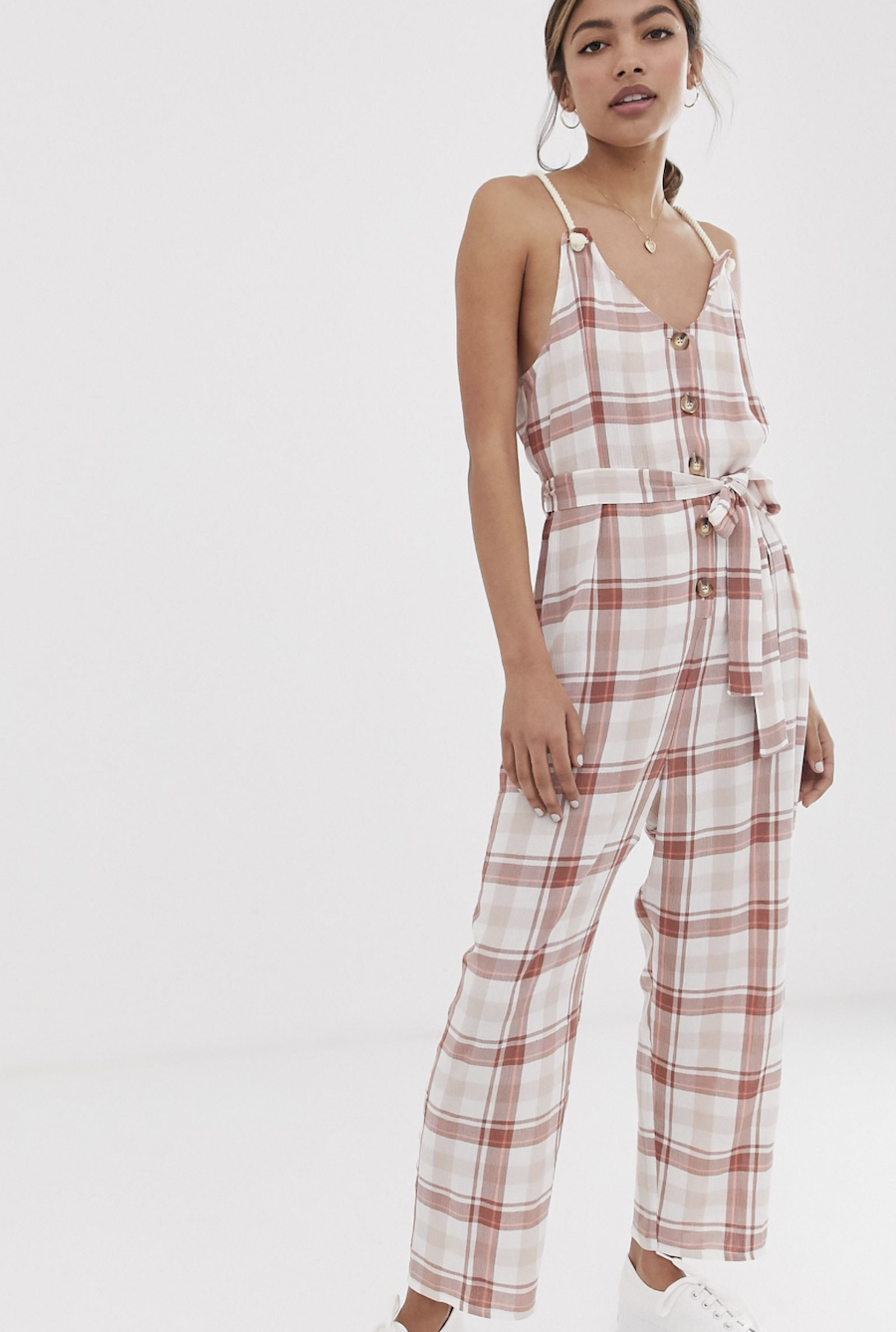 Casual long checked jumpsuit with lace straps and buttons on the front of ASOS DESIGN