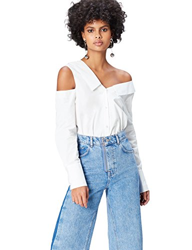 Amazon brand - find. Women's Long Sleeve Shirt, White (Weiß), 40, Label: M
