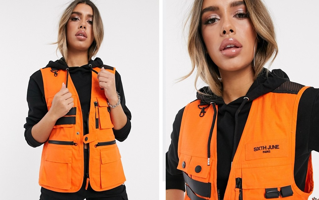 Vest with utilitarian design, hardware detail and orange tone