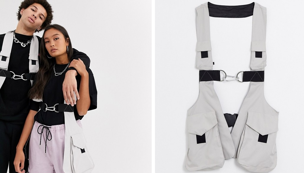 Unisex gray harness vest