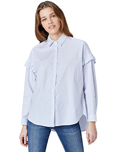 Amazon brand - find. Women's Oversize Striped Blouse with Frills on Sleeve, Blue (Blau), 42, Label: L