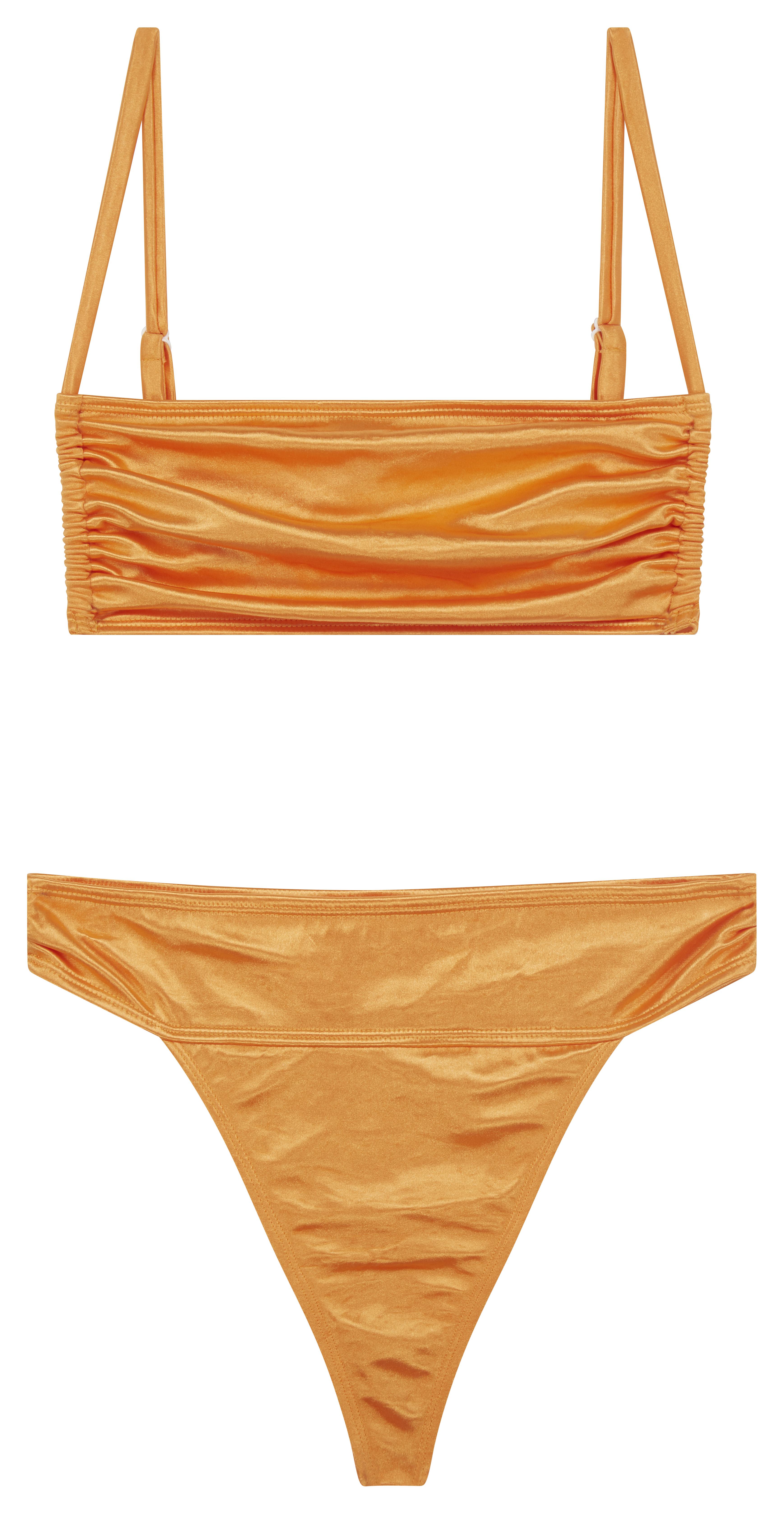 Pleated bikini with orange mirror effect satin square neckline