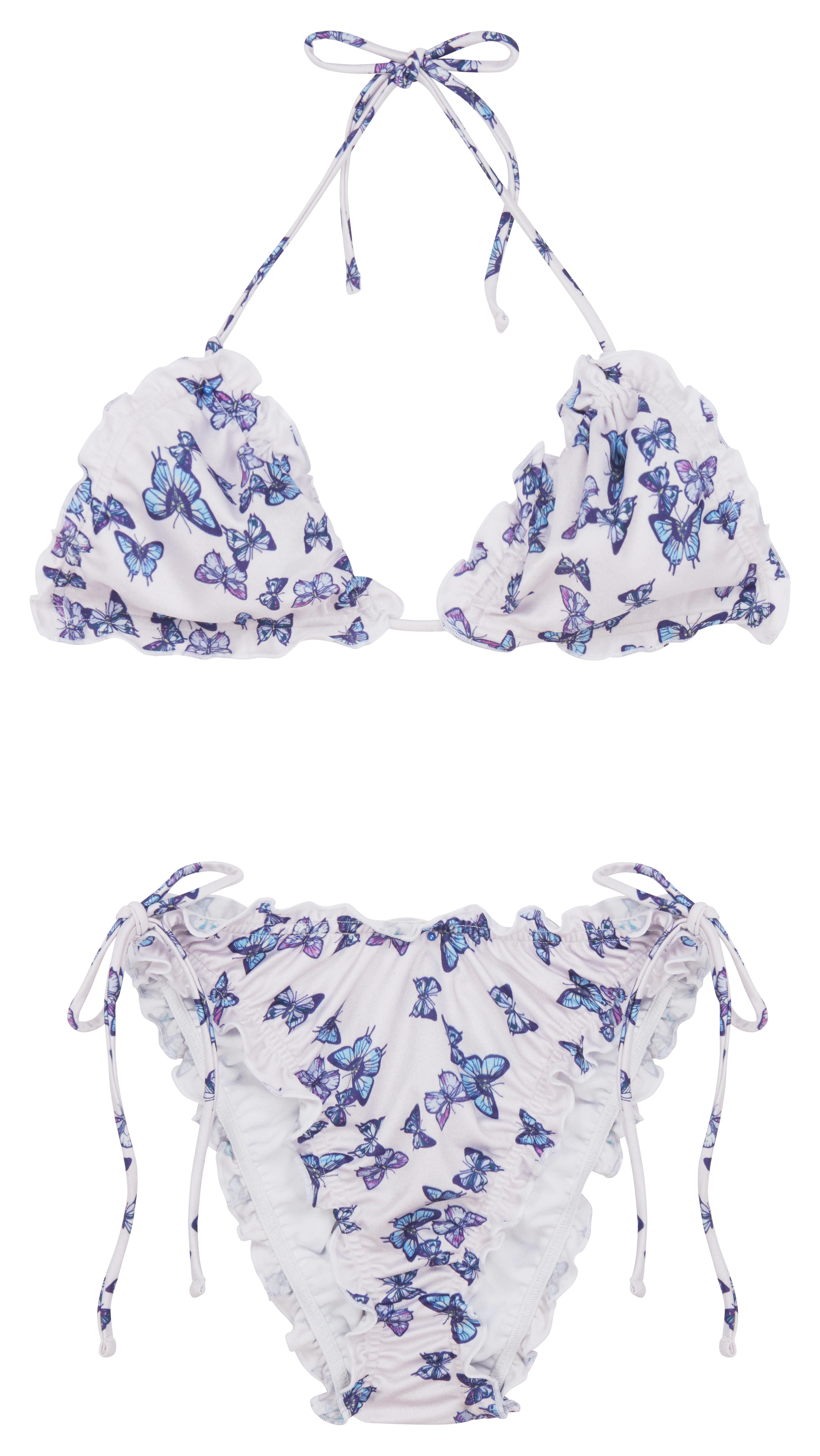 Butterfly-print bikini with flared edges