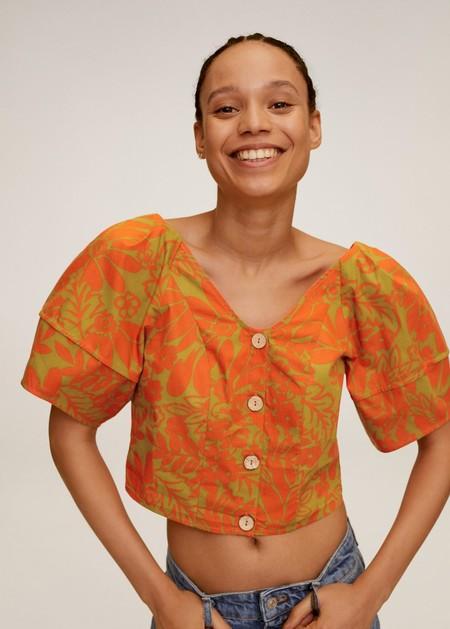Tropical Print Blouse Mango 03