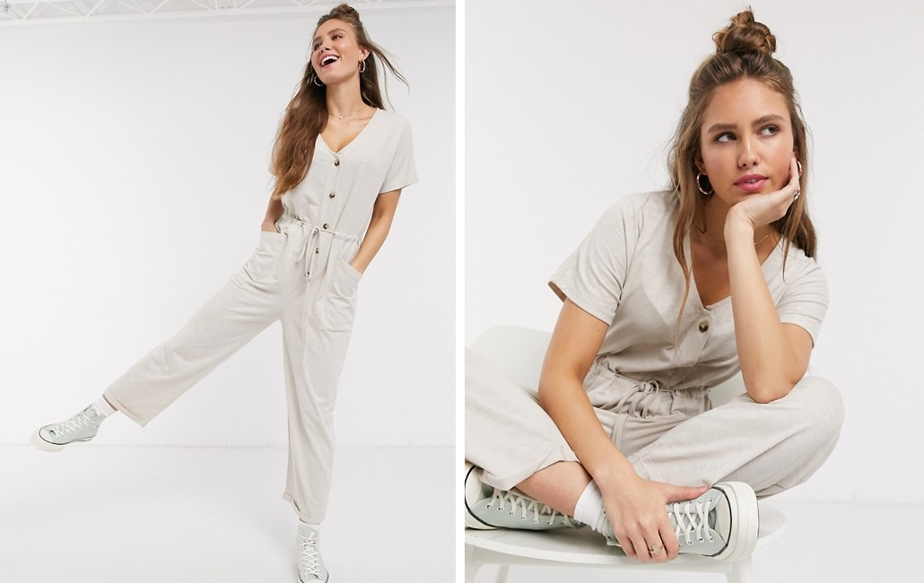 Long jumpsuit with buttons and nude waist ribbon