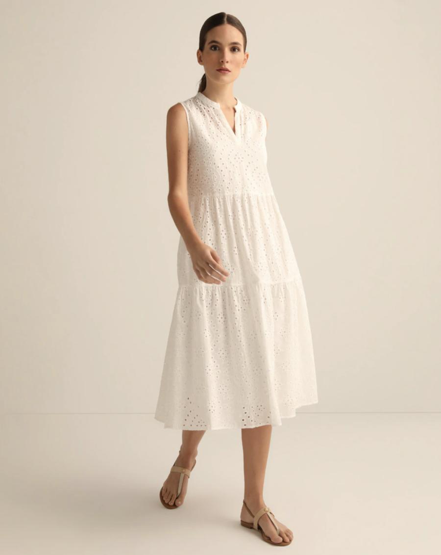 White dress with openwork 100% cotton