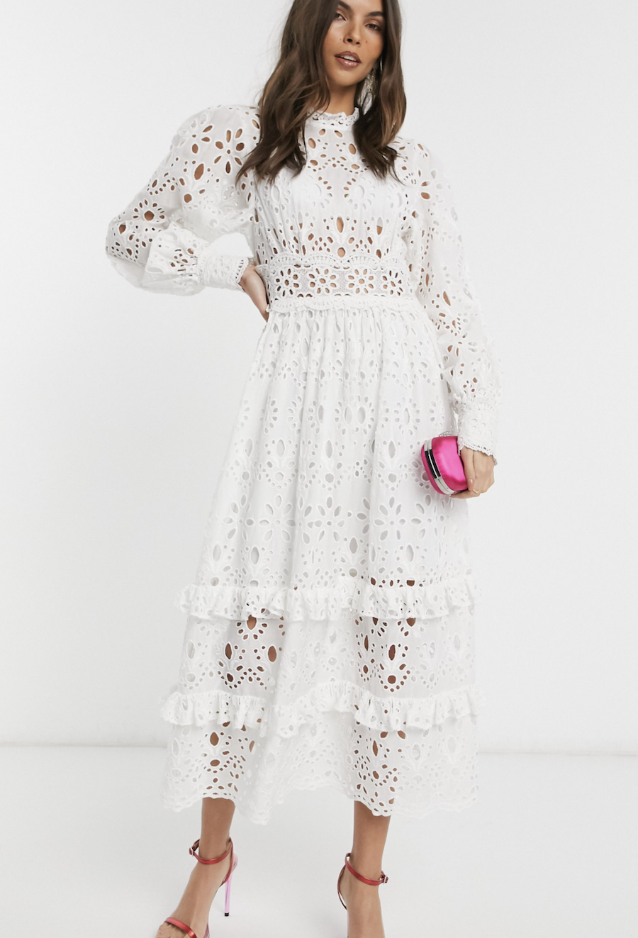 Midi embroidered dress with puffed sleeves by ASOS DESIGN