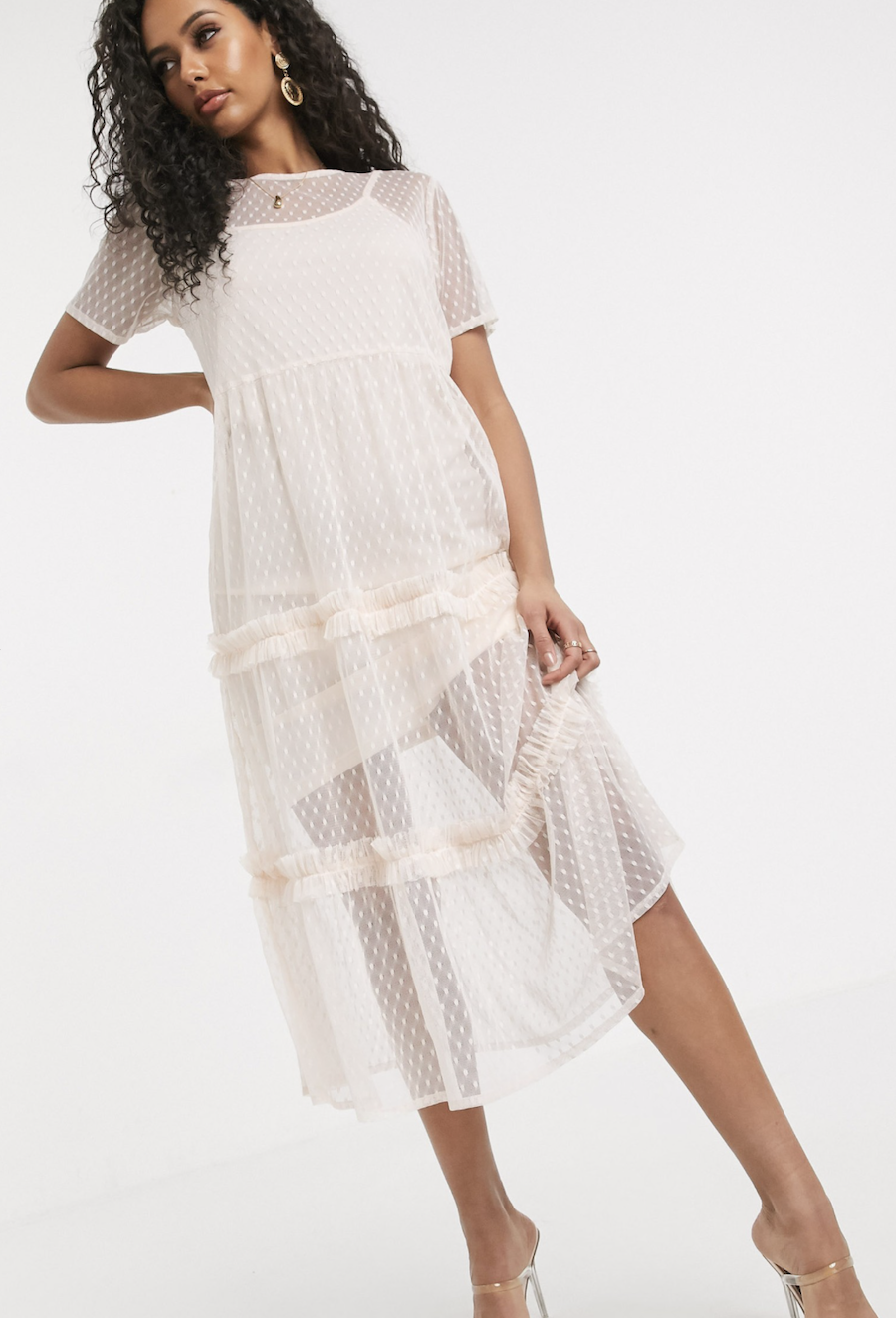 Midi dress with layers of plumeti mesh in beige by Boohoo