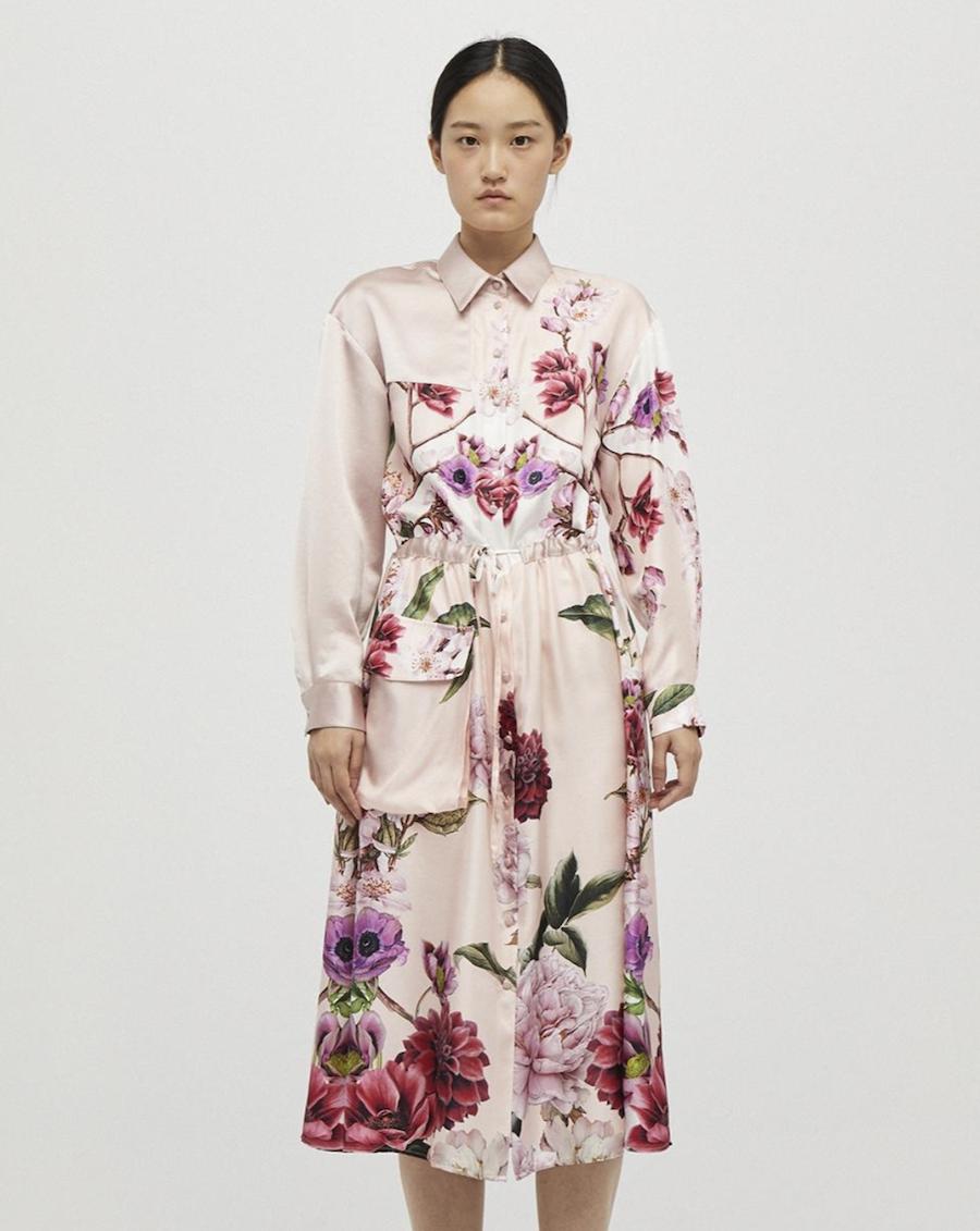 Flower print shirt dress