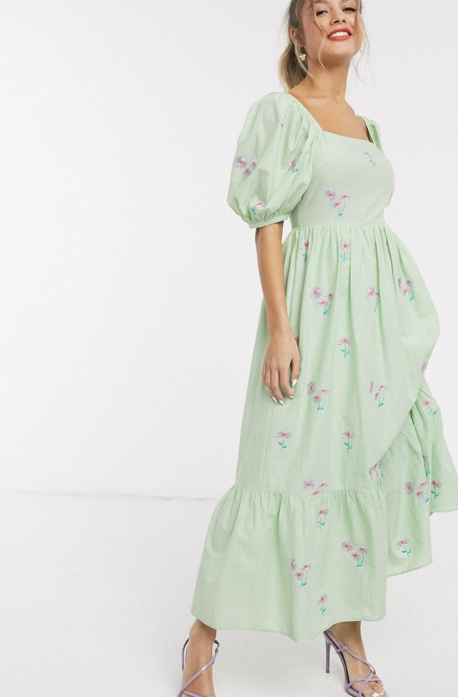 Cotton midi dress embroidered with a green bow on the back by ASOS DESIGN