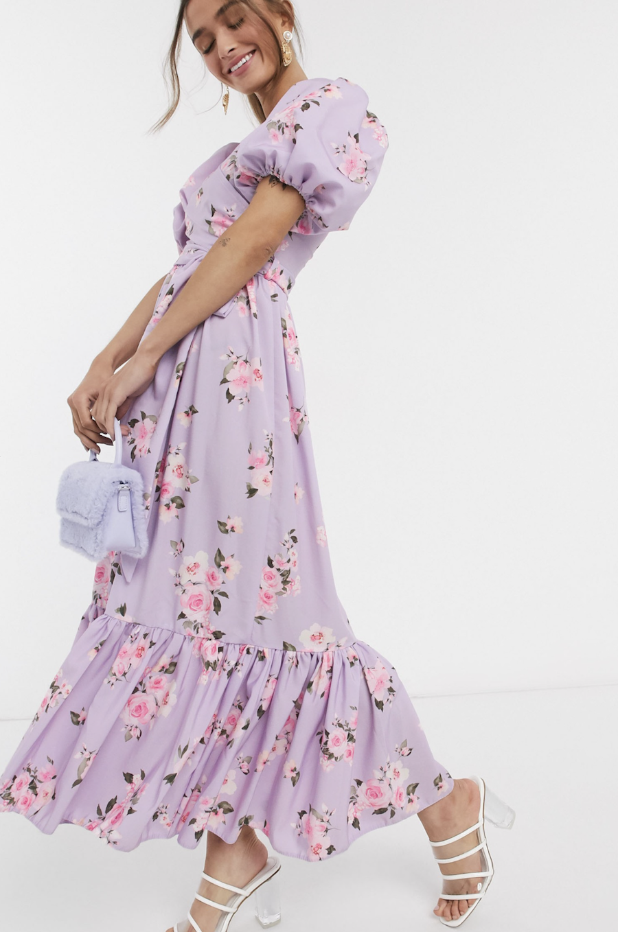 Midi puffed-sleeve dress with crossover design and ruffle bottom in lilac floral print exclusive to John Zack Petite