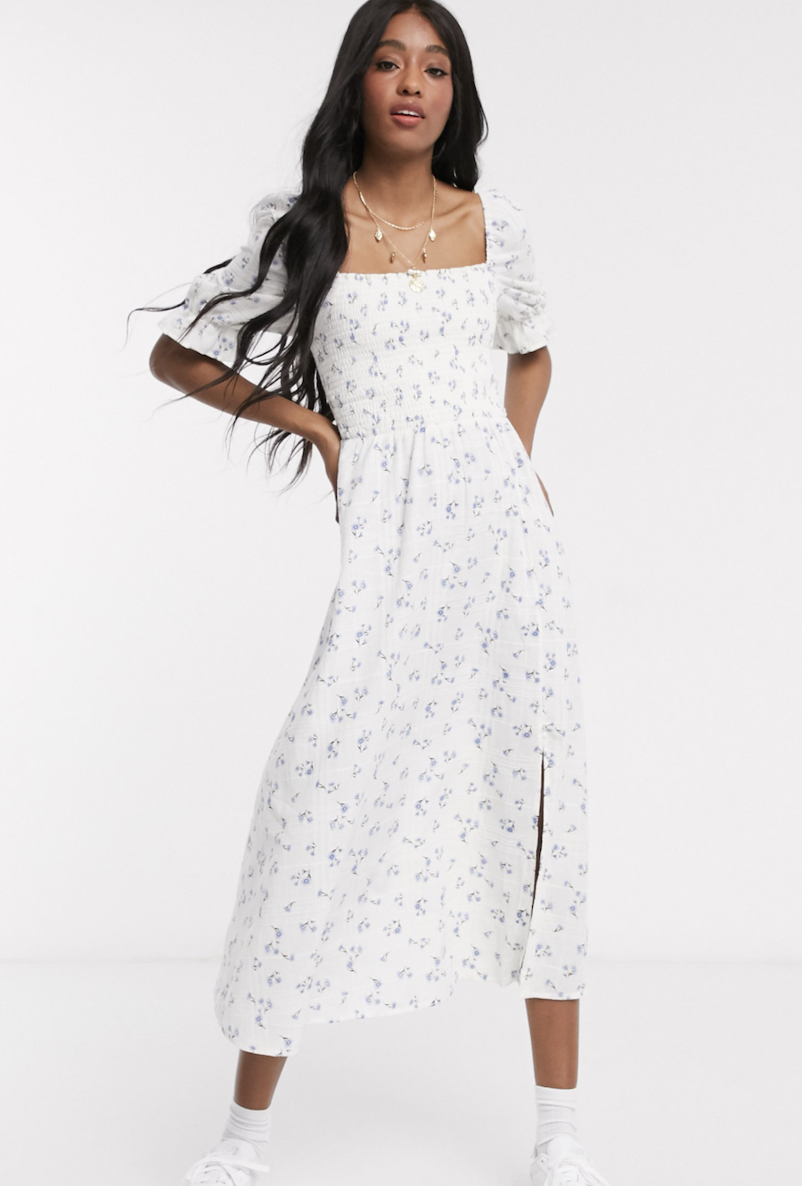 Midi dress with gathered top and puffed checkered sleeves by New Look