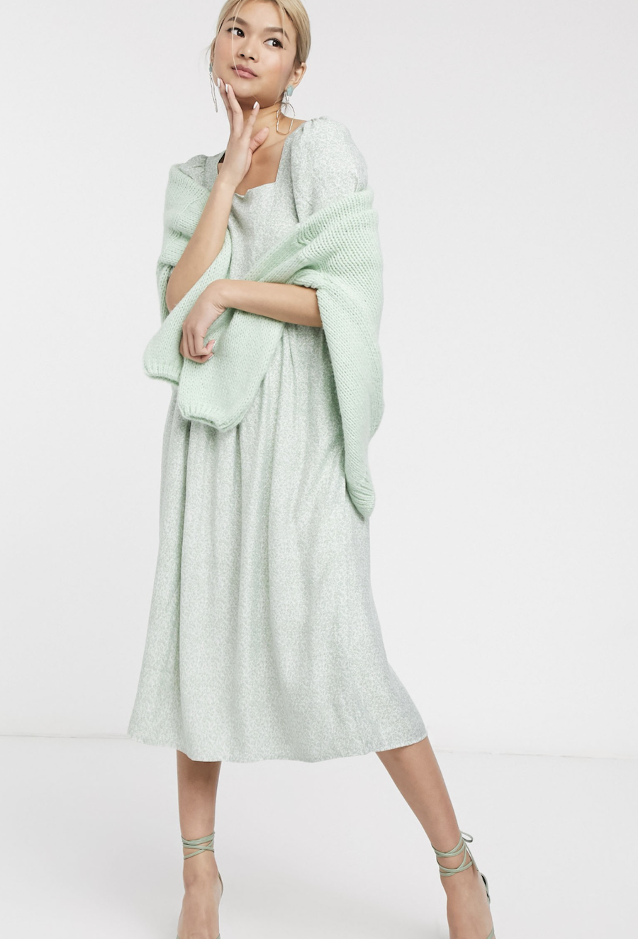 Midi dress in sage green with puffed sleeves and vintage floral print by & Other Stories