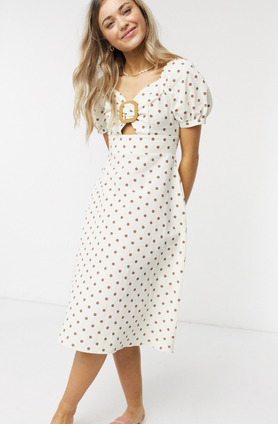 Midi dress with buckle front and polka-dotted sleeves by QED London