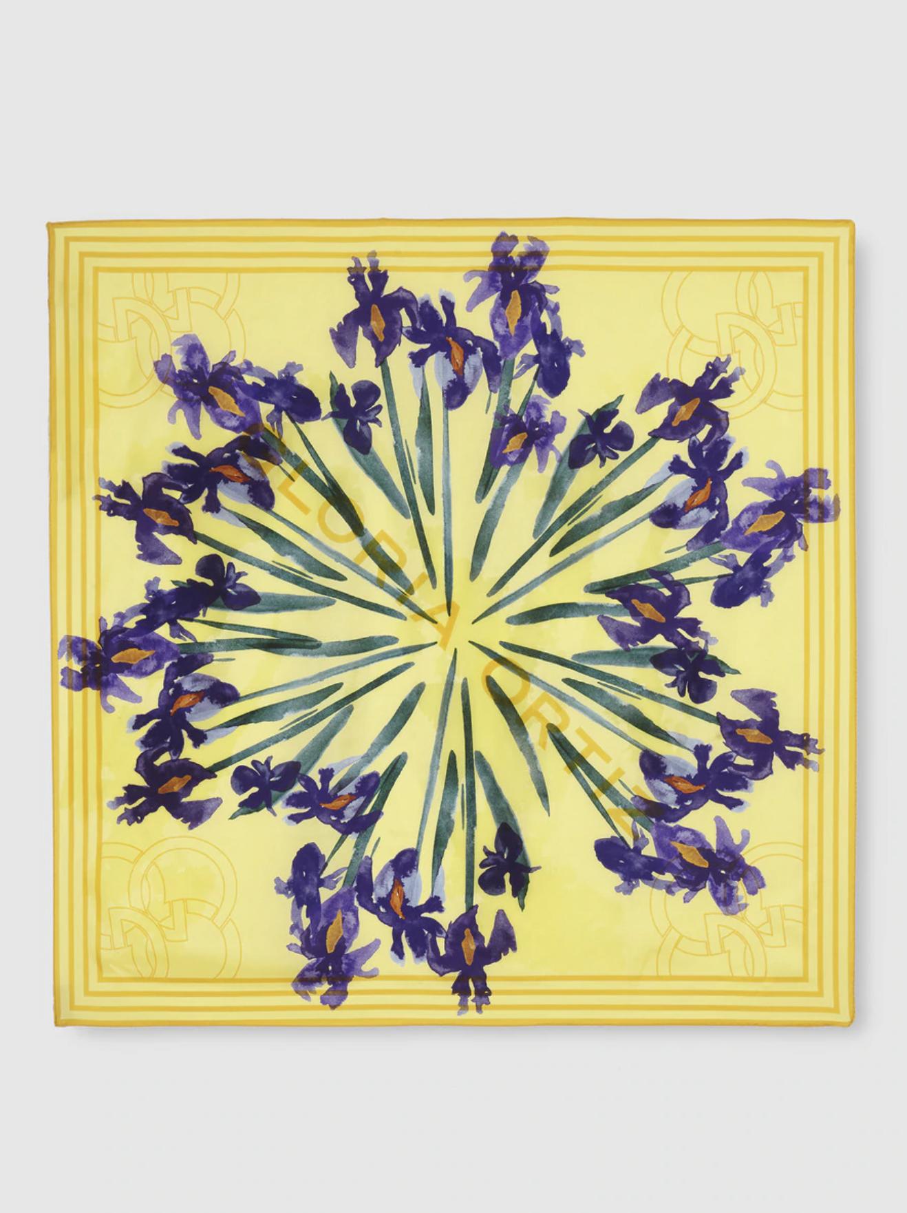 Gloria Ortiz yellow silk scarf with floral print