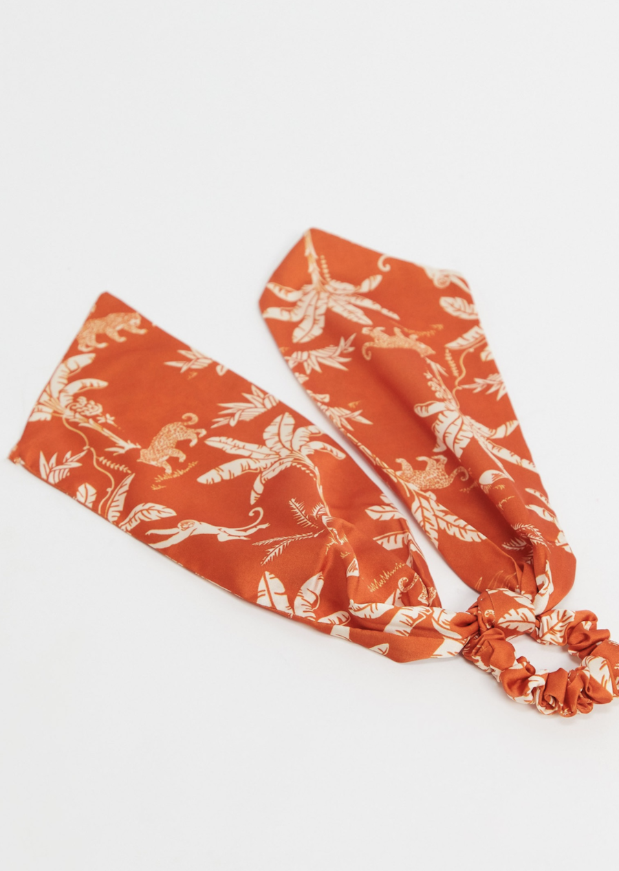 Leopard print orange head scarf with ASOS DESIGN palms