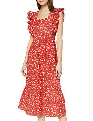 Amazon brand - find. Long Dress Boho Flower Woman, Multicolor (red flowers), 42, Label: L