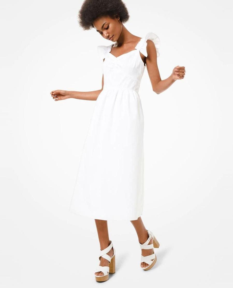 Midi cotton dress with ruffles