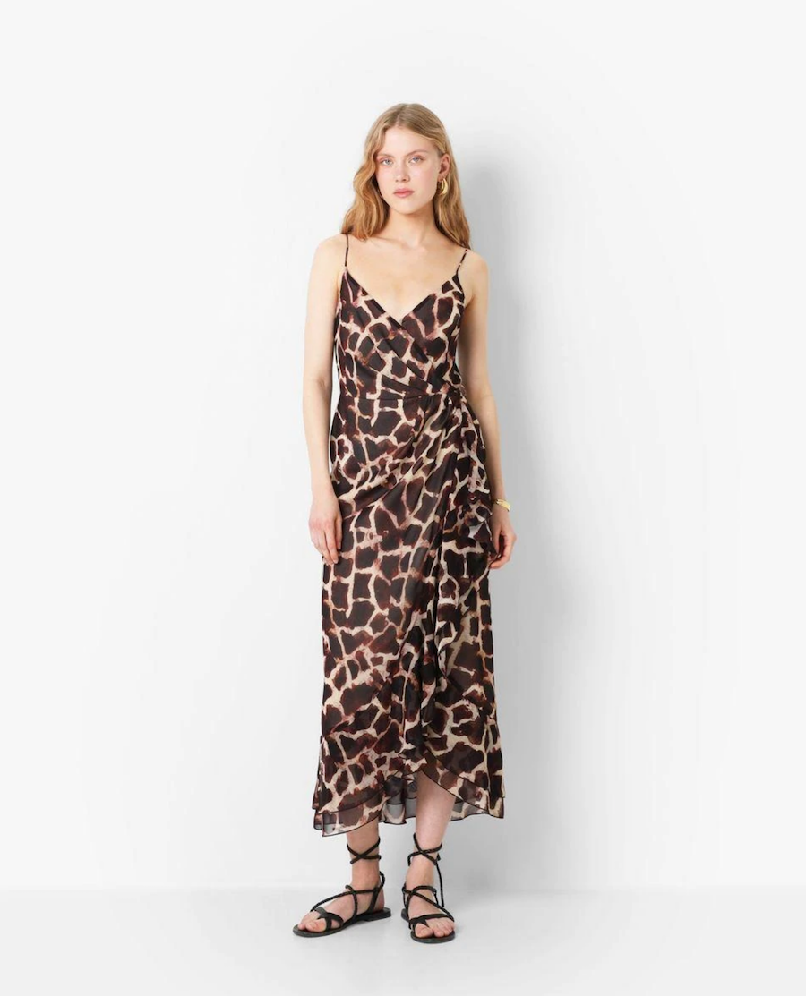 Long cross-cut dress with thin straps and animal print