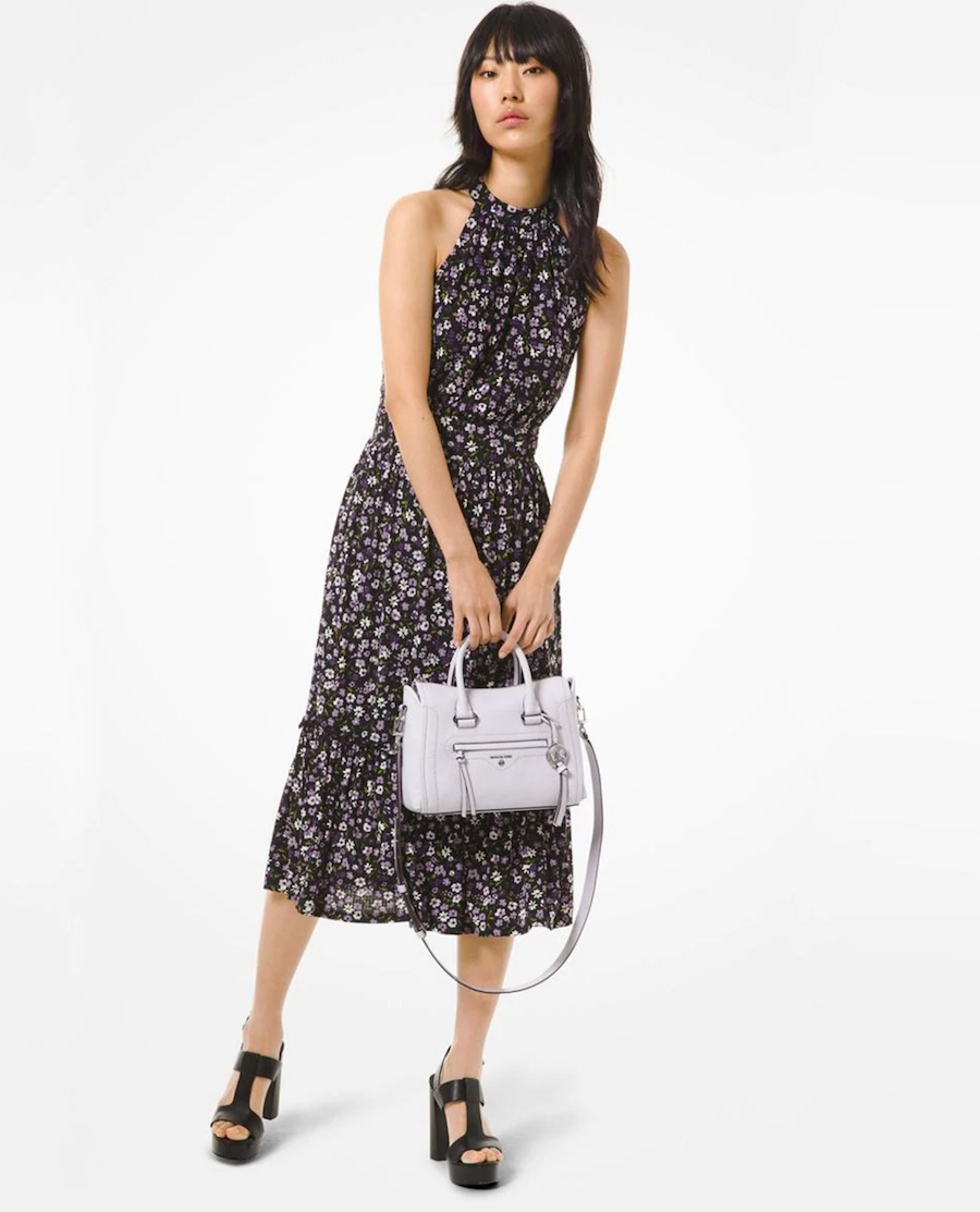 Halter neck midi dress with floral print