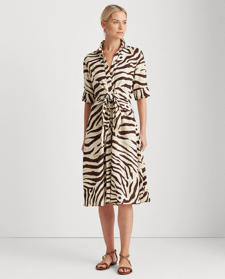Animal print dress with short sleeves