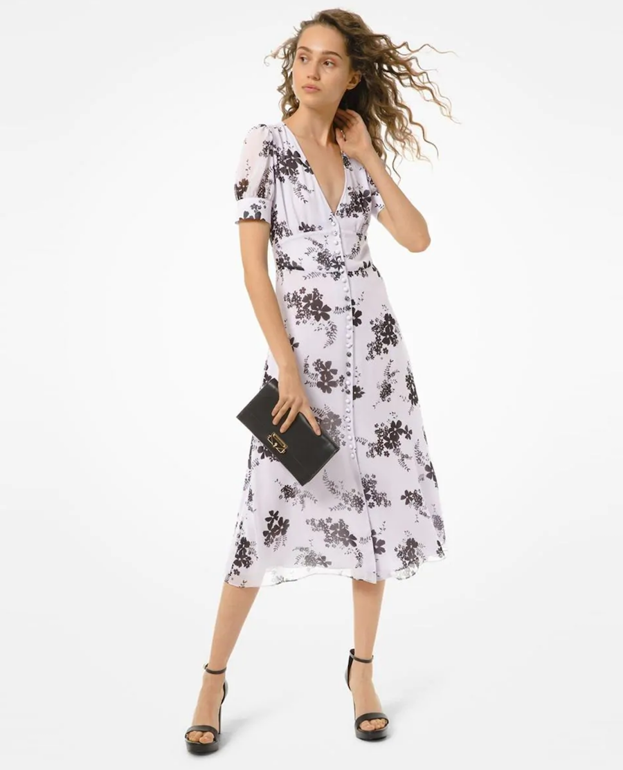 Short sleeve midi dress with floral print
