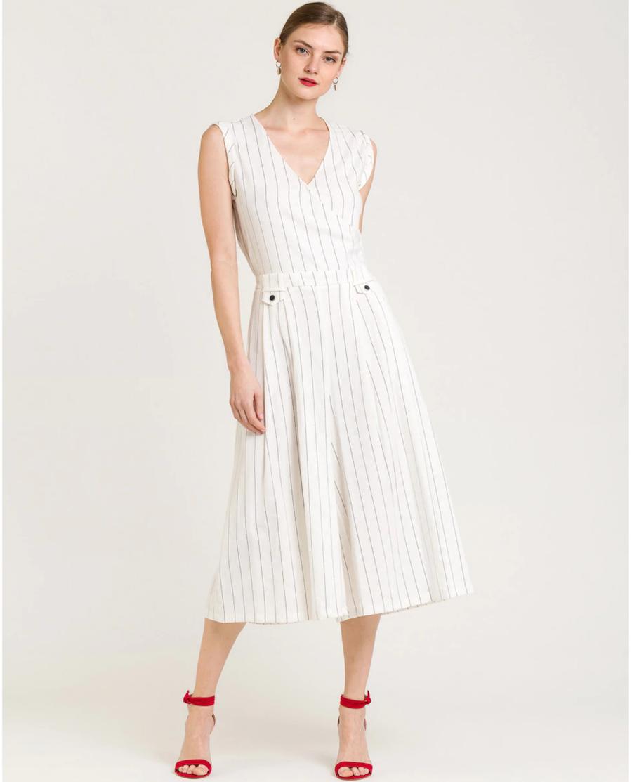 Sleeveless women's striped jumpsuit
