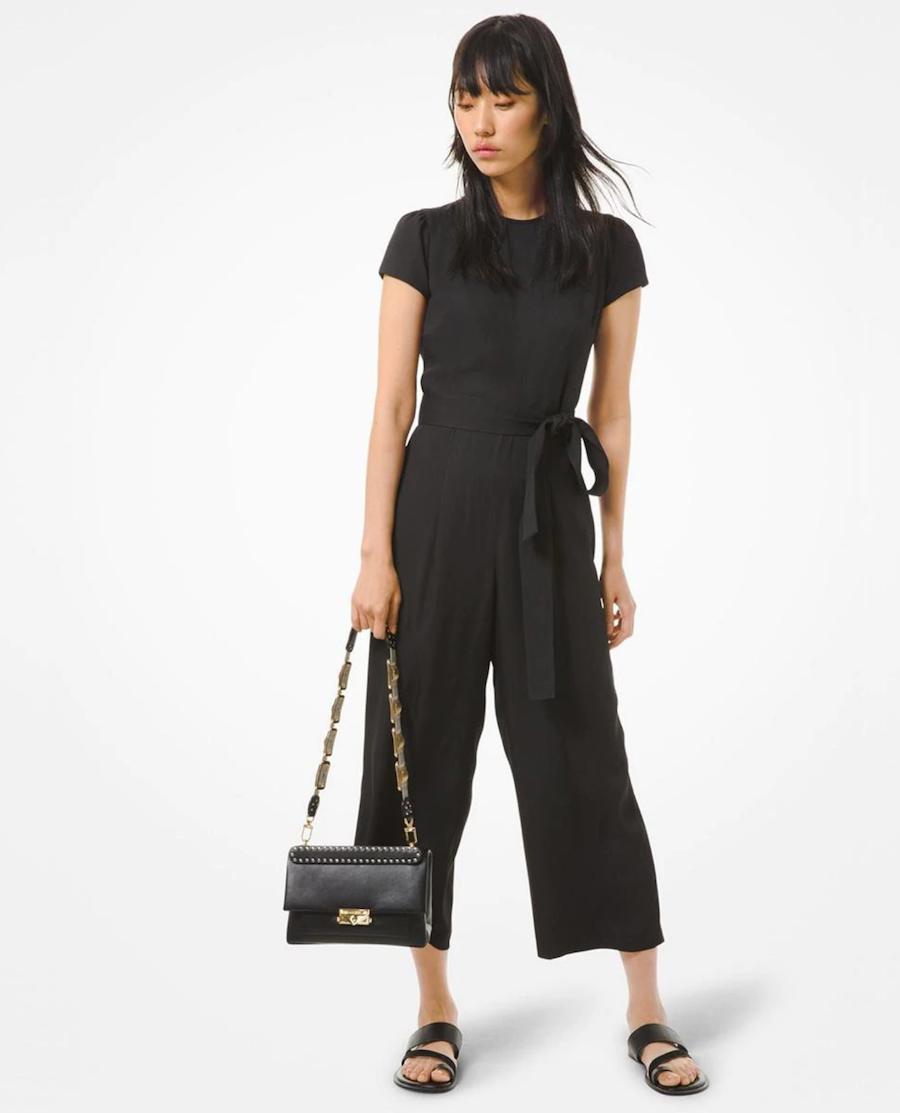 Short-sleeved plain midi women's suit with belt