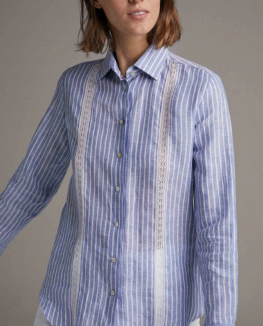Men's shirt with lace applications