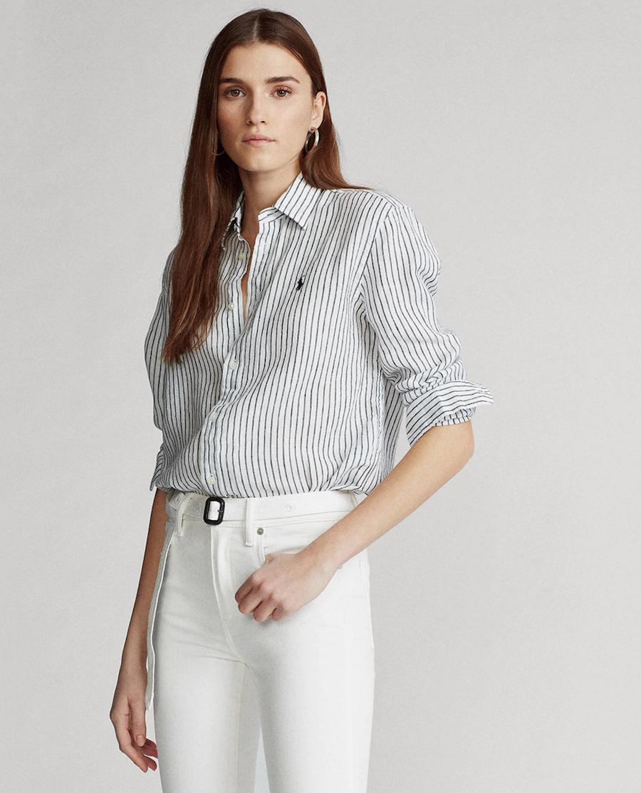 Striped linen women's shirt