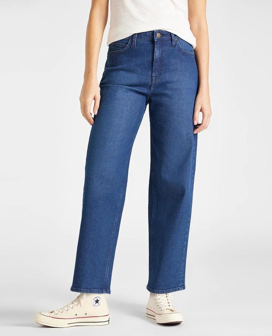 Women's Straight Jeans Wide Leg Decontiro High in Blue