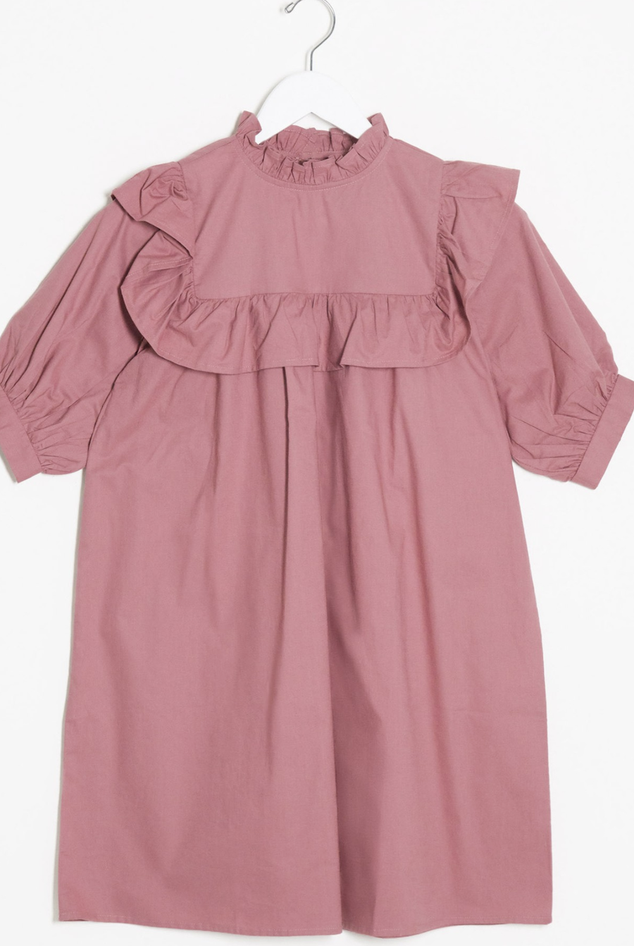 Wide dress with flounce detail in shadow pink by Influence