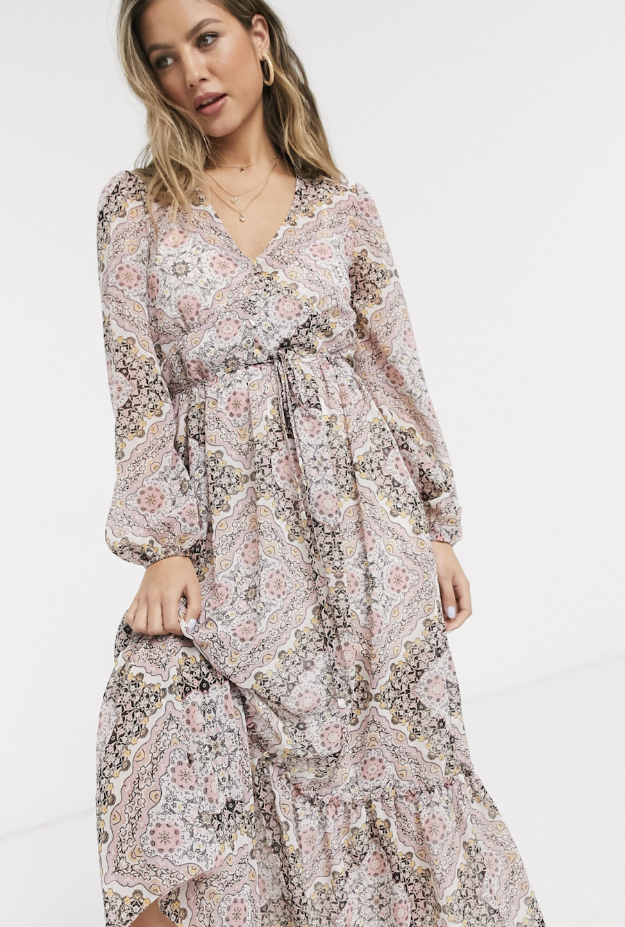 Miss Selfridge pink cashmere print v-neck puffed sleeve midi dress