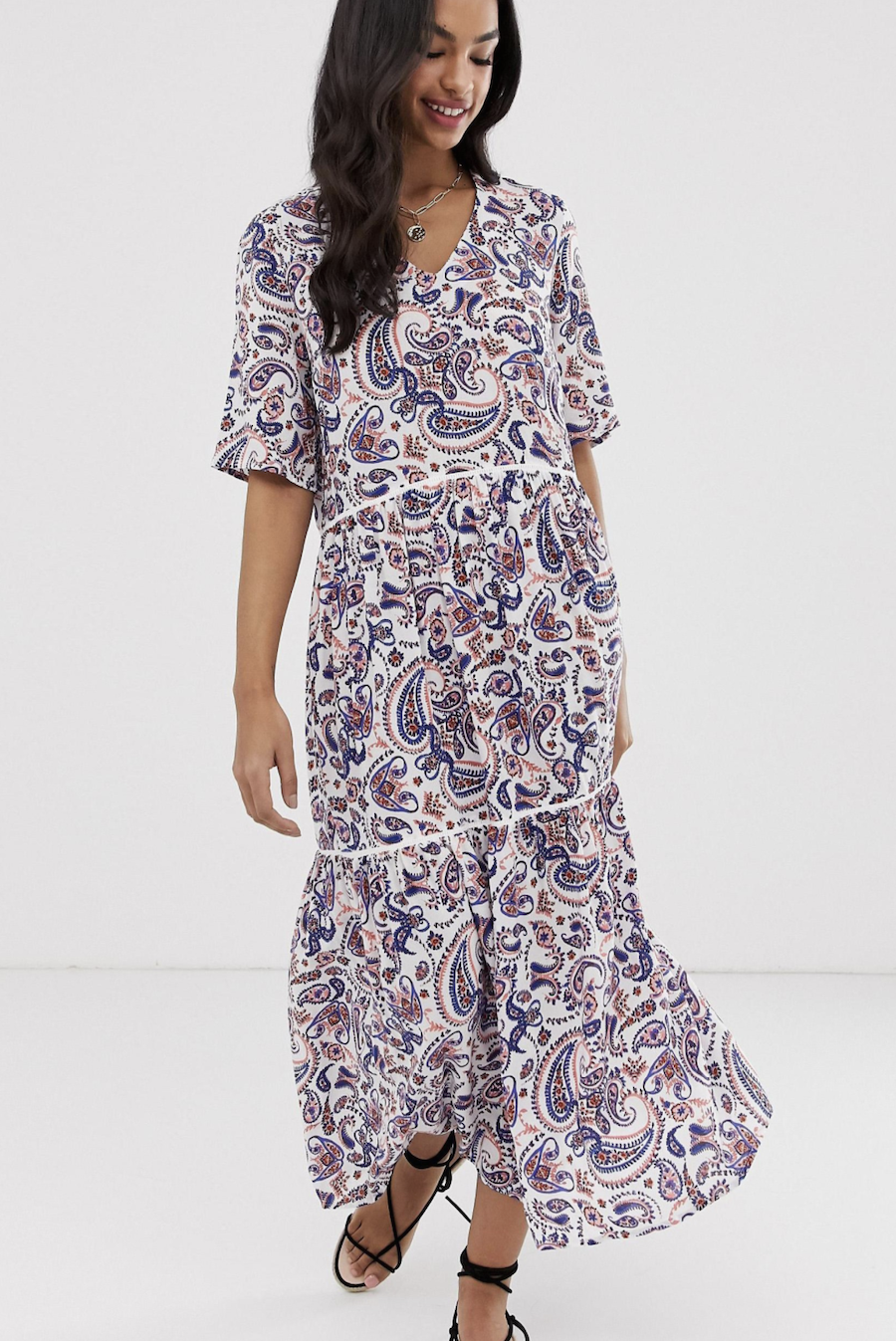 Long dress with ruffles and cashmere print by Y.A.S