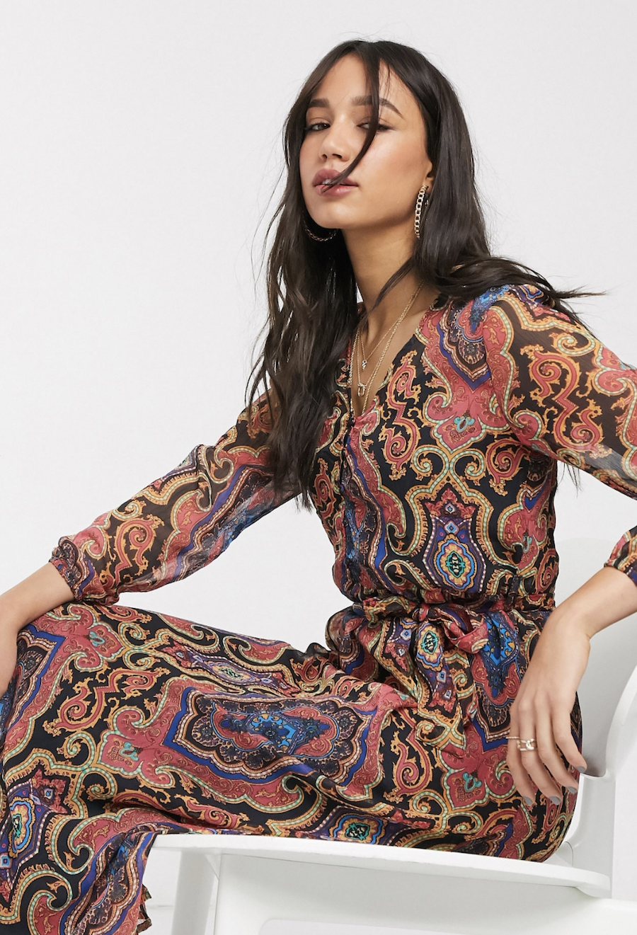 Multicolored long dress with cashmere print by Only
